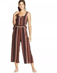 Xhilaration Sleeveless Striped Cropped Jumpsuit M